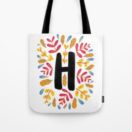 Letter 'H' Initial/Monogram With Bright Leafy Border Tote Bag