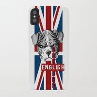 english bulldog iPhone & iPod Cases featuring English Bulldog by Det Tidkun