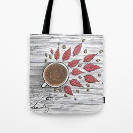Hot coffee on a chilly fall day Tote Bag