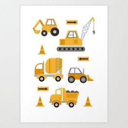 Construction Trucks Art Print