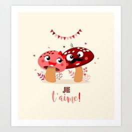 Couple de champignons (rose & rouge) Art Print
