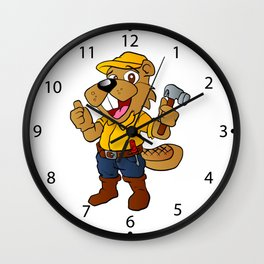 Beaver holding a hammer Wall Clock