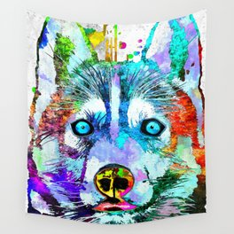 Husky Dog Watercolor Grunge Wall Tapestry