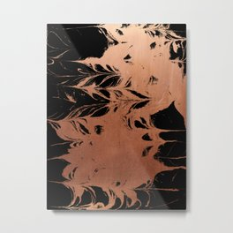 Japanese suminagashi minimal copper metallic and black spilled ink marble marbling abstract Metal Print