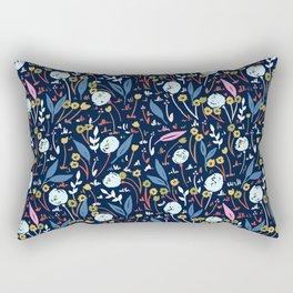 Ditsy Folk Dark Floral Pattern Rectangular Pillow
