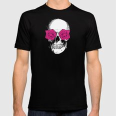 Skull and Roses | Grey and Pink Black Mens Fitted Tee MEDIUM