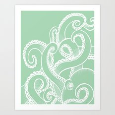 Octopus - Seafoam and white Art Print