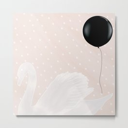 Swan Princess Party Black Metal Print
