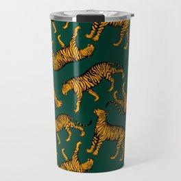 Tigers (Dark Green and Marigold) Travel Mug