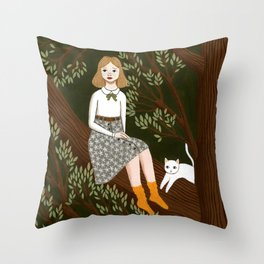 in a tree Throw Pillow