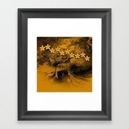 Orange flowers in an abstract grunge landscape Framed Art Print