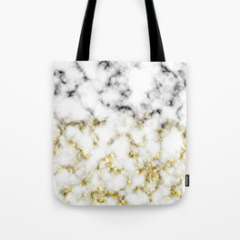 Black and white marble gold sparkle flakes Tote Bag