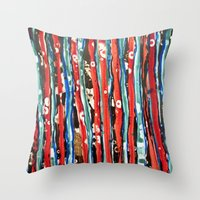 alcohol Throw Pillows featuring Alcohol Ink stripe Alpha by Pajaritaflora