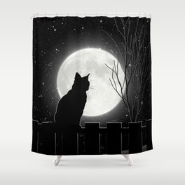 Silent Night Cat and full moon Shower Curtain
