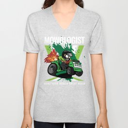 Funny Lawn Mower Racing Apparel for Drivers & Competitors, Motorsport Lovers & Petrolheads Unisex V-Neck