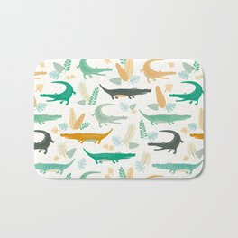 crocodiles and leaves Bath Mat