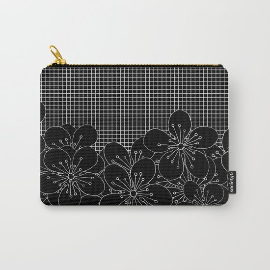 Cherry Blossom Grid Black Carry-All Pouch