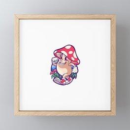 Happy Magic Mushroom Framed Mini Art Print