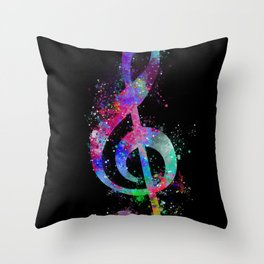 Watercolor splashed multicolor sol key silhouette Throw Pillow
