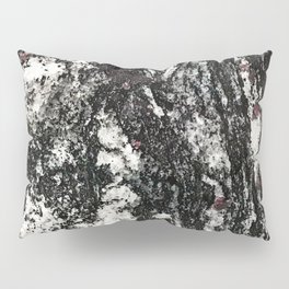 Black Web Dripping // Red Speckled Granite Stone Texture Pillow Sham