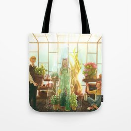 Watering the plants Tote Bag