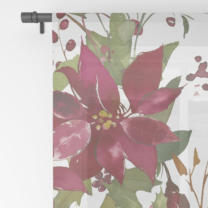 Poinsettia Flowers Sheer Curtain