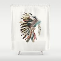 headdress Shower Curtains featuring native headdress by bri.buckley