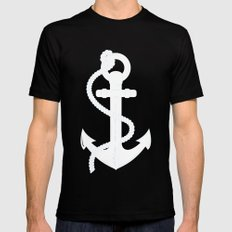White Anchor Black MEDIUM Mens Fitted Tee