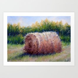 Hay Bale and Goldenrods Art Print