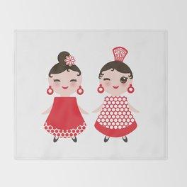 Spanish Woman flamenco dancer. Kawaii cute face with pink cheeks and winking eyes. Gipsy girl Throw Blanket