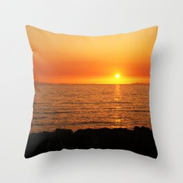Sunset Over Adriatic Sea Throw Pillow