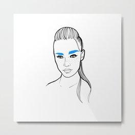 Freckle blue fashion ponytail model Metal Print