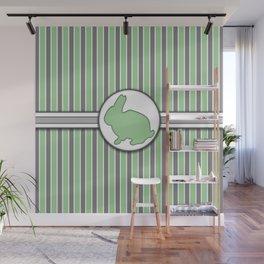 Green Rabbit Stripes Pattern Design Wall Mural