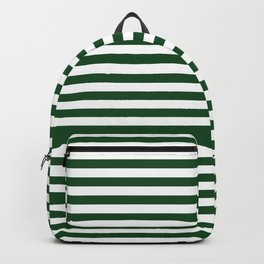 Original Forest Green and White Rustic Horizontal Tent Stripes Backpack