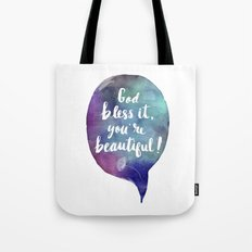 God bless it, you're beautiful! (Valentine Love Note) Tote Bag