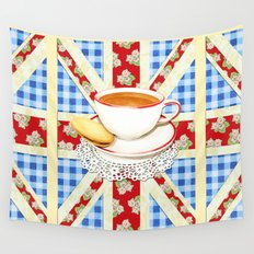 Union Jack and a Cup of Tea Wall Tapestry