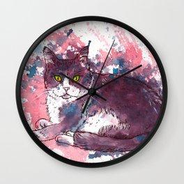 Cat painting, lavender colors, beautiful pet portrait Wall Clock