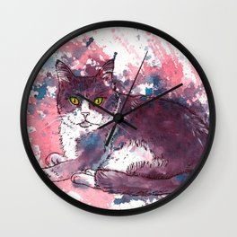 Cat painting, lavender colors, beautiful pet portrait Wall Clock