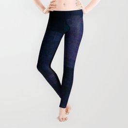Dark Purple Geometric Colourful Pattern Layers Grid Quilt Fuzzy Texture Leggings
