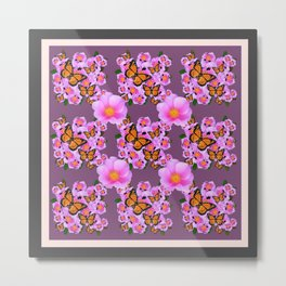 PINK ROSES MONARCH BUTTERFLIES  PUCE COLOR ART Metal Print