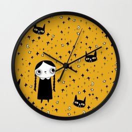 goth girl with her cat Wall Clock
