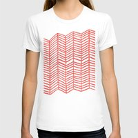coral T-shirts featuring Coral Herringbone by Cat Coquillette