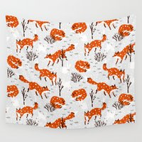foxes Wall Tapestries featuring Foxes by Paper Bicycle