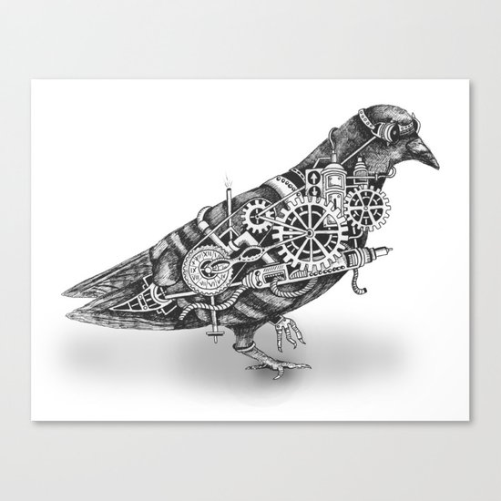 Roly the Steampunk Pigeon Canvas Print