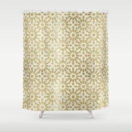 Hara Tiles Gold Shower Curtain