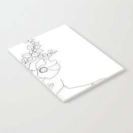 Minimal Line Art Woman with Flowers II Notebook