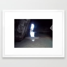 Light at the end of the cave Framed Art Print