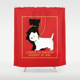Retro London and Glasgow by train, dogs terriers Shower Curtain