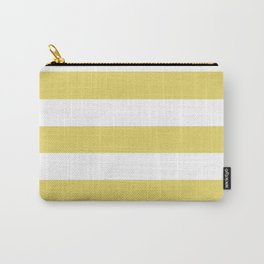 Hansa yellow - solid color - white stripes pattern Carry-All Pouch