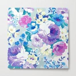 Colorful Summer Flowers Watercolors Pattern Metal Print